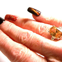 "Imperial topaz, imperial aqua ring, multi stone ring, anniversary for her, golden blue,  s 6 1/4    ""Sparkle City"""