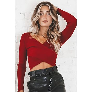 Know The Truth Wine Red Overlap Crop Top