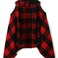Red Plaid Waterfall Front Waistcoat