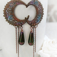 MYSTIC MOONS fantasy moon earrings, extra dangly coppery rainbow moons with Czech glass drops