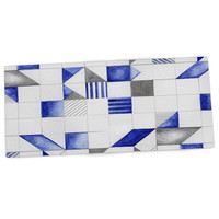 "Kira Crees ""Winter Geometry"" White Blue Desk Mat"