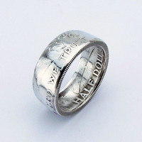 SILVER Ben Franklin Half Dollar Coin Ring,Unique Engagement Ring,Wedding Ring,Coin Jewelry,Mens,Band,Mans,Rings