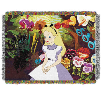 Alice in Wonderlands (In the Garden) Woven Tapestry Throw (48inx60in)