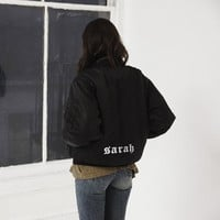 GOTHIC TEXT PERSONALIZED BACK OF BOMBER JACKET