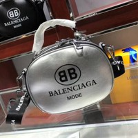 BALENCIAGA Popular Women Shopping  Bag Leather Letter Print Tote Handbag Shoulder Bag Crossbody Satchel Silvery I-WXZ2H