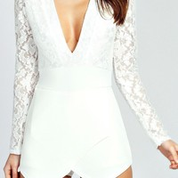 White Lace Long Sleeve Romper