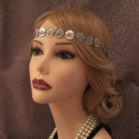 1920's inspired silver coin gypsy costume flapper headband 20s art deco 1920s gatsby goddess headpiece head piece elastic
