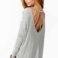 Dolman Strapped Tee - Gray