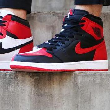 Nike Air Jordan Retro 1 Fashion Women Men High Top Contrast Sports Shoes Sneakers White&Black&Red