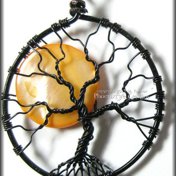 Under A Halloween Moon - Tree of Life Pendant with Orange Pearl Coin Bead in Black Wire Wire Wrapping