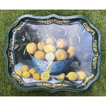 Vintage English Tole Tray Still Life Blue Chinoiserie Chinese Bowl w/ Lemons