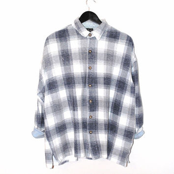 90s pale blue PLAID shirt 1990s grunge oversized button up sun washed flannel oxford shirt