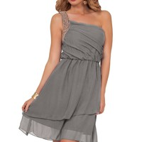 Women's Formal Chiffon Ruched Beaded One Shoulder Sleeveless Knee Length Dress