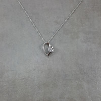 Heart Clear Small Crystal Silver Necklace