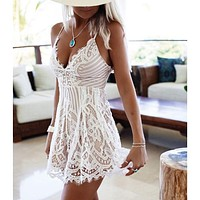 Scalloped Lace Straps Romper Jumpsuit Dress