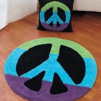 """Peace Sign Rug Set (30"""" Rug & 14"""" Pillow) PEACE Sign Multicolor"""