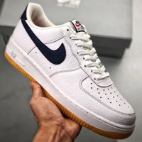 Trendsetter Nike Air Force 1 '07 Blue And Maroon Trim  Women Men Fashion Casual Skateboard Shoes