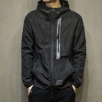 Casual Men's Slim Fit Quilted Lightweight Patchwork Sports Jackets with Hood Gift