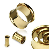 PAIR Gold Plated Double Flare Tunnels Ear Plugs Earlets Gauges