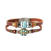 Fashion Plaza Tibet Hand Crafted Coral Bead & Simulated Calaite Bead Leather Bracelet -19cm- L10