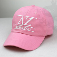 Delta Zeta Sorority Line Design Baseball Cap - Custom Color Hat and Embroidery.