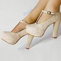 Vogue NEW Sexy Lace Womens Shoes Lady Chunky High Heels Platform Buckle Pumps