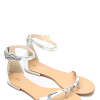 Shine In Silver Tiger Accent Sandals