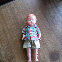 """Rare Antique Celluloid Boy Doll with Plaid Camp Shirt & Khaki Shorts; Large/10"""" Flawed 1930s-1950s Jointed Doll"""