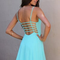 Cage Back Summer Dress in Aqua | New Age Queen