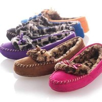 Leopard Mocassin Slippers Size 7