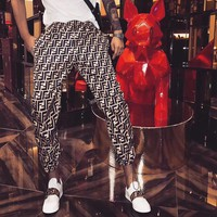 """Fendi"" Women Casual Fashion Retro Multicolor F Leisure Pants Trousers"