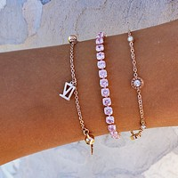 Roman Numeral Pink CZ Stack