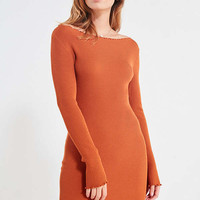 UO Lettuce Edge Ribbed Bodycon Dress   Urban Outfitters