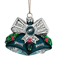 "NFL Philadelphia Eagles Glitter Bells Ornament, Green, 3"" x 3"""
