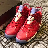 Bunchsun Air Jordan 6 High Quality Classic Men Casual Sport Basketball Shoes Sneakers Red