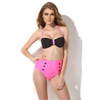 Black Polka Dot and Pink High Waisted Swimsuit