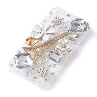3D Eiffel Tower and Crystals iPhone Cover for 4 & 4S  | Claire's