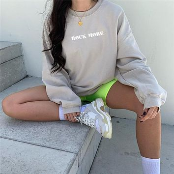 Women Loose Letter Print Long Sleeve Big Sweater Round Neck Casual Tops