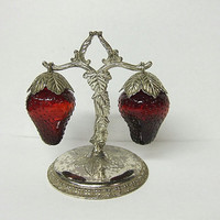 Vintage 50's Red Glass Strawberry Salt Pepper Shakers Silver Stand Strawberries
