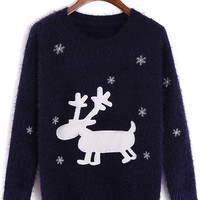 Navy Elk And Snowflake Pattern Fluffy Knit Jumper