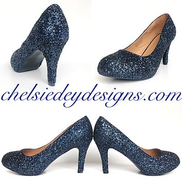 Navy Blue Glitter High Heels, Midnight Low Prom Pumps