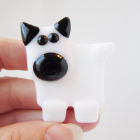 White Dog Magnet - Fused Glass Magnet - Refrigerator Magnet - Gift for Dog Lover - Pet Lover Gift - Dog Decoration - Gift Under 10