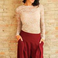 Essential Lace Top - Almond