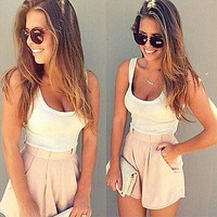 women 2017 Summer 2 Pieces Clothes Set Women Short Sleeve Shorts and Crop Tops Casual Outfits