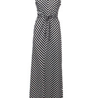 'The Teodora'  Black and White Striped Sleeveless Maxi Dress With Belt