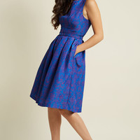 Innate Glamour Fit and Flare Dress in Damask