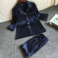 Simulation silk pajamas sexy short-sleeved shirt shorts two suits lovers leisure wear thin