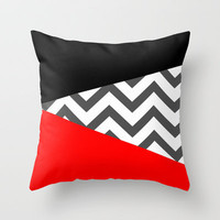 Color Blocked Chevron 10 Throw Pillow by Josrick