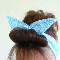 Dolly Bow Reversible Wire Headband Lite Blue Rockabilly Pin Up Hair Accessory for  Teens Women Girls