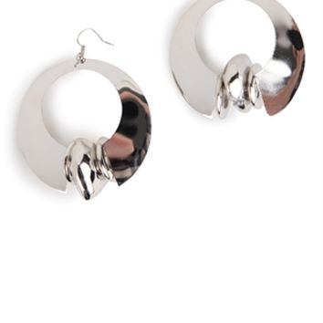 Metal Dangling Hoop Earring with Center Ring